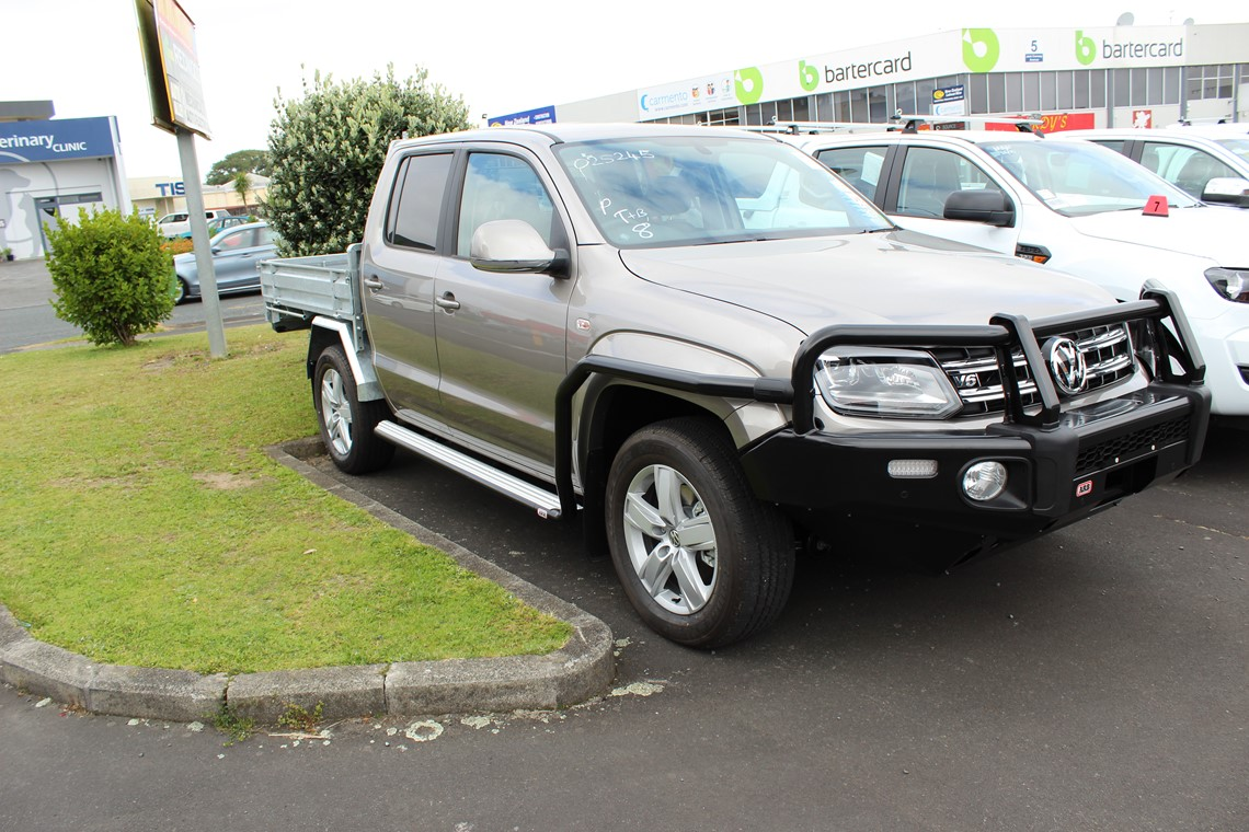 vw amarok ute with with steel flat deck and bull bar