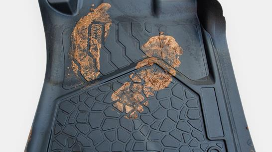 car floor mat with muddy boot print