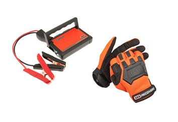 car battery jump starter and gloves