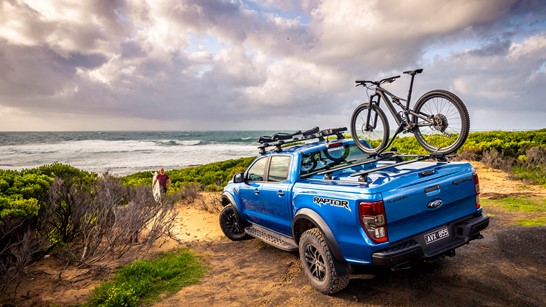 ford ranger raptor ute at the beach